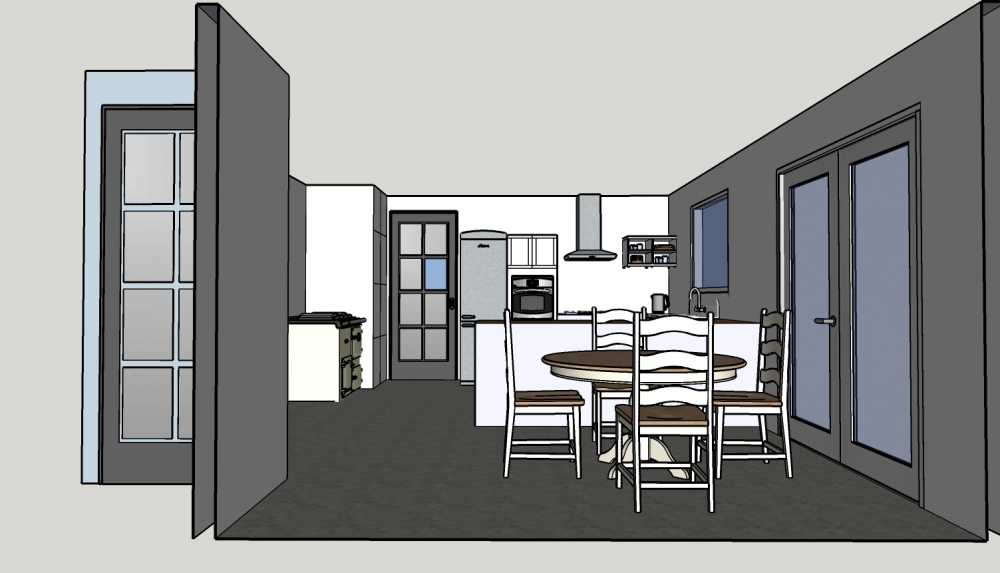 Sample Drawings: Kitchen one point perspective
