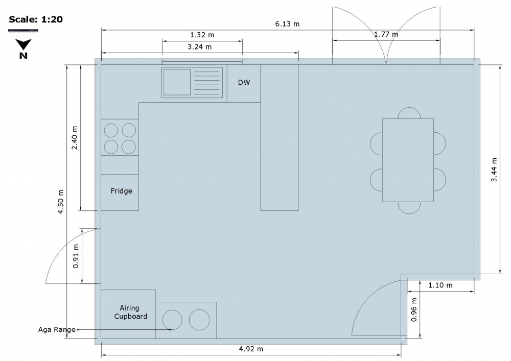 Sample Drawings: contemporary farmhouse kitchen floor plan